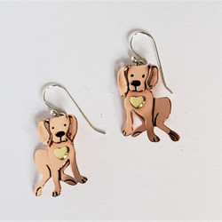 fair trade stainless steel & brass labrador puppy earrings from Mexico