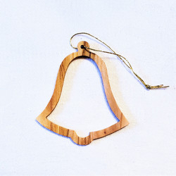fair trade olive wood bell ornament from the Holyland