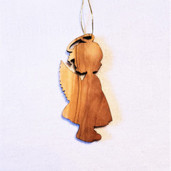 fair trade olive wood little girl angel ornament from the Holyland