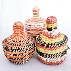 Fair trade lidded prayer mat basket from Senegal