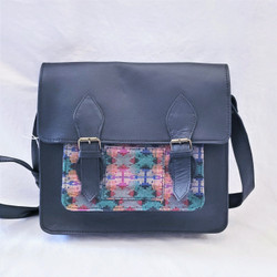 fair trade black leather cross body satchel from Nepal