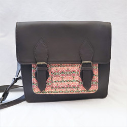 fair trade black leather cross body satchel from Nepal