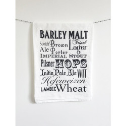 Beer words screenprinted cotton kitchen dish towel made in USA