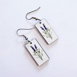 Fair trade lavendar on eucalyptus wood dangle earring from Guatemala