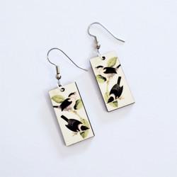 Fair trade flycatcher on eucalyptus wood dangle earring from Guatemala