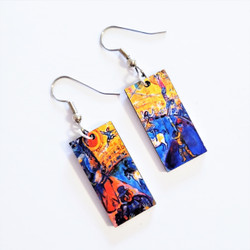 Fair Trade Eucalyptus Wood Dangle Earring with Circus Horse by Marc Chagall from Guatemala