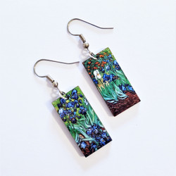Fair Trade Eucalyptus Wood Dangle Earring with Irises by Vincent Van Gogh from Guatemala
