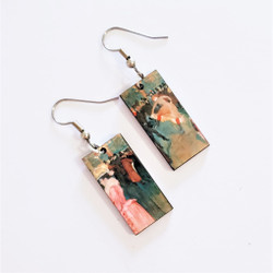 Fair Trade Eucalyptus Wood Dangle Earring with At the Moulin Rouge The Dance by Henri de Toulouse-Lautrec from Guatemala