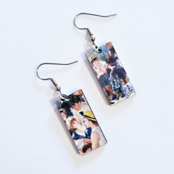 Fair Trade Eucalyptus Wood Dangle Earring with Luncheon of the Boating Party by Pierre Auguste Renoir from Guatemala