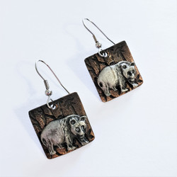 fair trade copper and oxidized pewter bear earrings from India