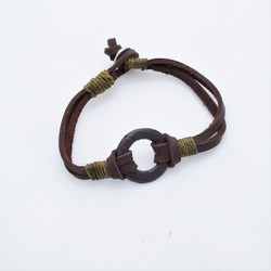 fair trade leather and aluminum bracelet from India