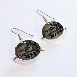 fair trade antique pewter bird on a branch dangle earrings from India