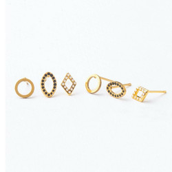 Fair trade geometric gold plated stud earrings from Asia