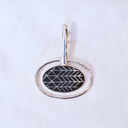 fair trade bidri silver inlay and zinc copper alloy pendant from india