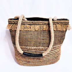 fair trade woven jute and rattan purse from Bangladesh