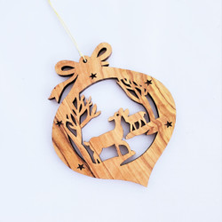 Fair trade olive wood cutwork deer ornament from the Holyland
