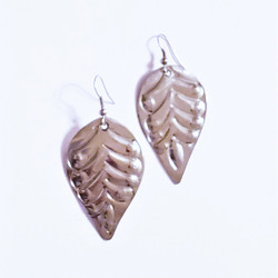 Fair Trade Stainless Steel Hand Embossed Dangle Earrings from the Dominican Republic