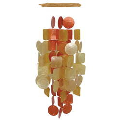 fair trade red orange capiz shell wind chime from Bali