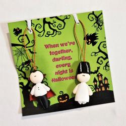 Fair Trade Dracula and Elvira almond paste hanging Halloween ornament from Ecuador