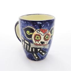 Fair trade Day of the Dead Puppy Calavera Hand Painted Talavera Mug from Mexico