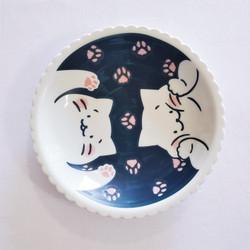 fair trade stoneware ceramic kitty cat plate from Japan