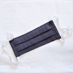 fair trade reusable linen pleated face mask with tie behind head or ear band from South Africa
