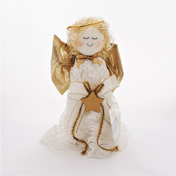 Fair trade angel tree topper with lace and gold trim from Chile