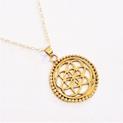 Fair trade six pointed star medallion brass pendant necklace India