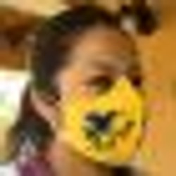 Child's Reusable Duckbill Style Cotton Face Mask with Embroidered Giraffe from Guatemala