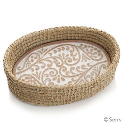 Fair trade terracotta bread warmer in natural kaisa basket from Bangladesh
