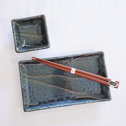 fair trade sushi plate and dipping bowl set from Japan