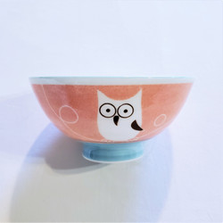 fair trade hand painted ceramic owl noodle bowl from Japan