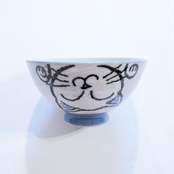 fair trade hand painted ceramic cat noodle bowl from Japan