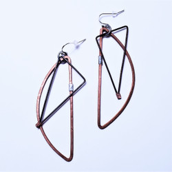 fair trade recycled metal long dangle earrings from Lesotho