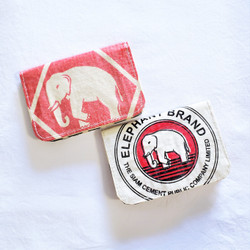 Recycled cement bag credit card holder with elephant from Cambodia