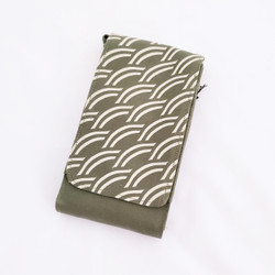 Fair trade screen printed cotton canvas phone and credit card holder from Cambodia