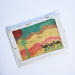 Fair trade sand art nativity handmade paper notecard with Holy Family from Palestine