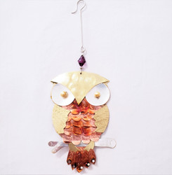 Fair trade mixed metal owl ornament from Thailand