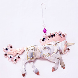 Fair trade mixed metal unicorn ornament from Thailand