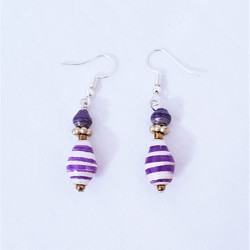 Fair trade purple paper bead earrings from Uganda