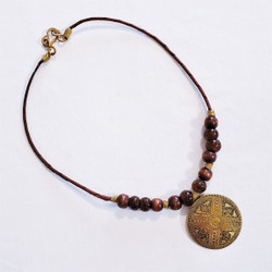 Fair trade embossed brass and wooden bead pendant necklace from Egypt