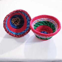 fair trade recycled sari flared bowl from Nepal