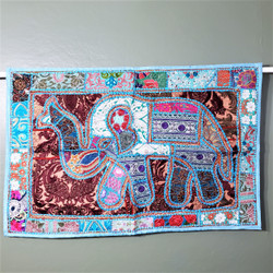 Fair trade embroidered recycled sari elephant wallhanging