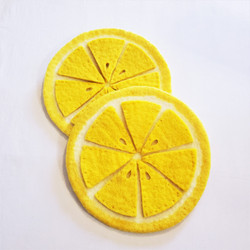 Fair trade felted wool lemon slice trivet from Nepal