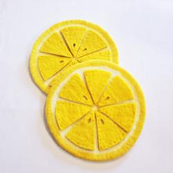 Fair trade felted wool lemon slice trivet from Nepal