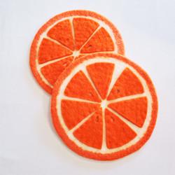 fair trade orange slice felted wool trivet from Nepal