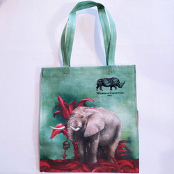 fair trade recycled plastic woven tote with elephant from South Africa