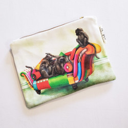 Fair trade lounging baboon zip top cosmetic bag from South Africa