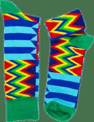 Fair trade Kalabule kente pattern cotton socks from Ghana