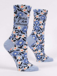 Bitch I AM Relaxed womens crew sock blueQ